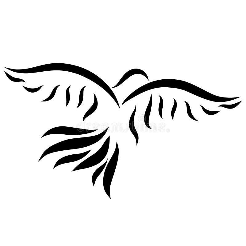 Fliegenvogel, schwarze gewellte Linien, Taube, Muster lizenzfreie abbildung