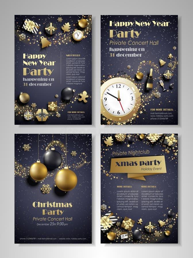 Download Flieger Der Frohen Weihnachten Und Des Guten Rutsch Ins Neue Jahr Vektor Abbildung - Illustration von einladung, gruß: 106801760