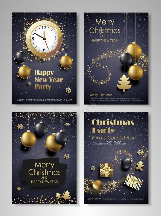 Download Flieger Der Frohen Weihnachten Und Des Guten Rutsch Ins Neue Jahr Eingestellt Vektor Abbildung - Illustration von glücklich, glühen: 106801628