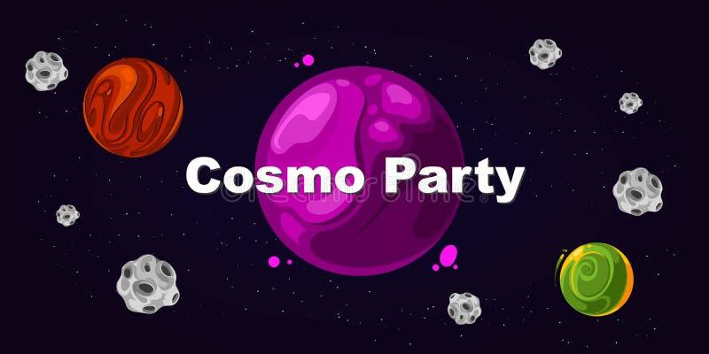 Flieger für Partei, cosmo Partei stock abbildung