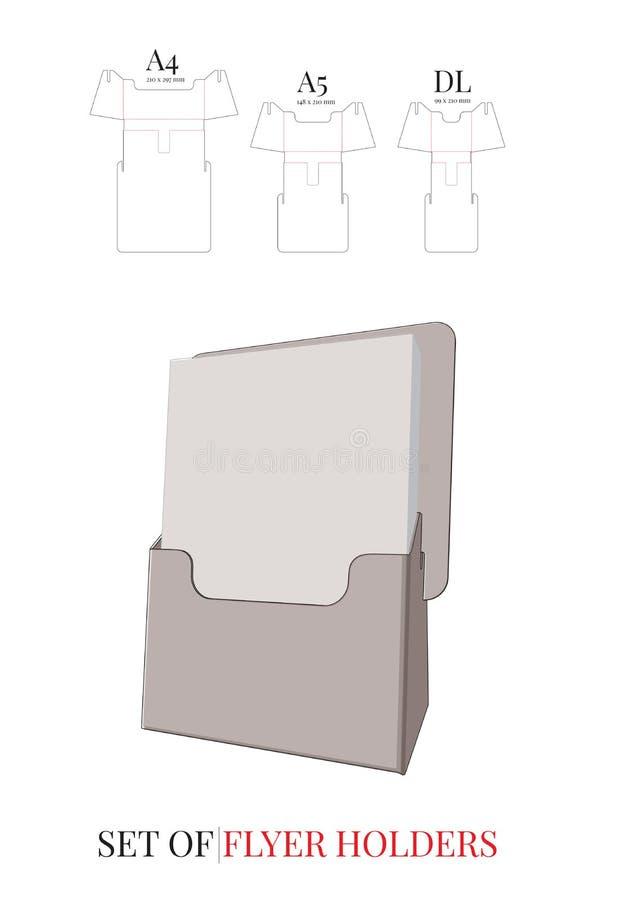 Flieger-Halter-Schablone Vektor mit den gestempelschnittenen/Laser-Schnittlinien stock abbildung