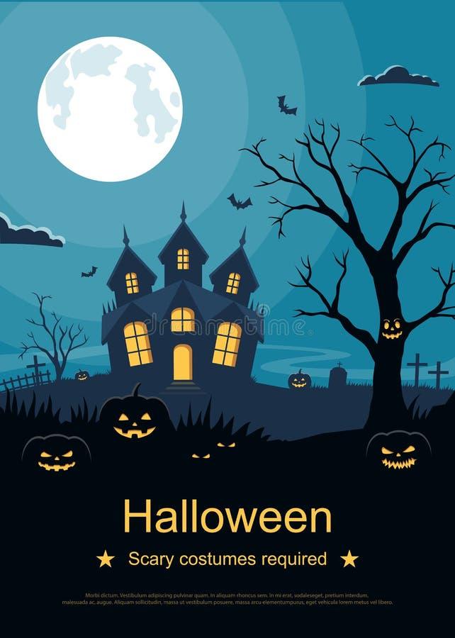 Flieger- oder Einladungskartenschablone für Halloween-Partei Halloween-Hintergrund mit Kürbisen und furchtsames Schloss auf Fried lizenzfreie abbildung