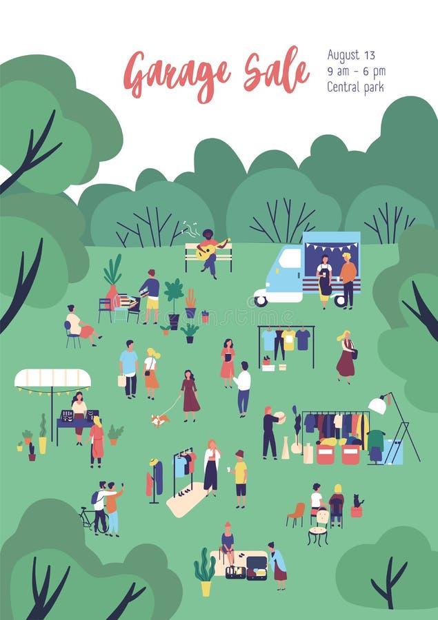 Flieger- oder Plakatschablone für Ramschverkauf, Festival im Freien, Sommermesse mit Nahrungsmittel-LKWs, kaufende und verkaufend vektor abbildung