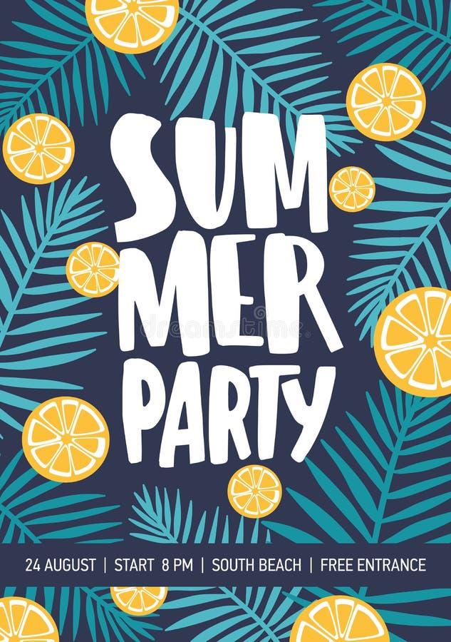Flieger- oder Plakatschablone verziert mit Zitrusfruchtscheiben und tropischem Laub für Sommerfestmitteilung bunt lizenzfreie abbildung