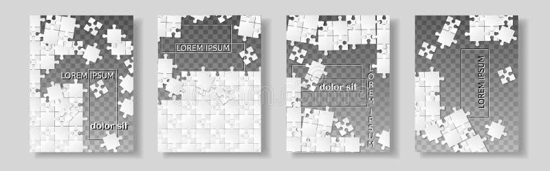 Fliegerdesign, flacher Hintergrund der Broschürenabdeckungsdarstellungs-Zusammenfassung, Bucheinbandschablonen, Puzzlebild Plan h lizenzfreie abbildung