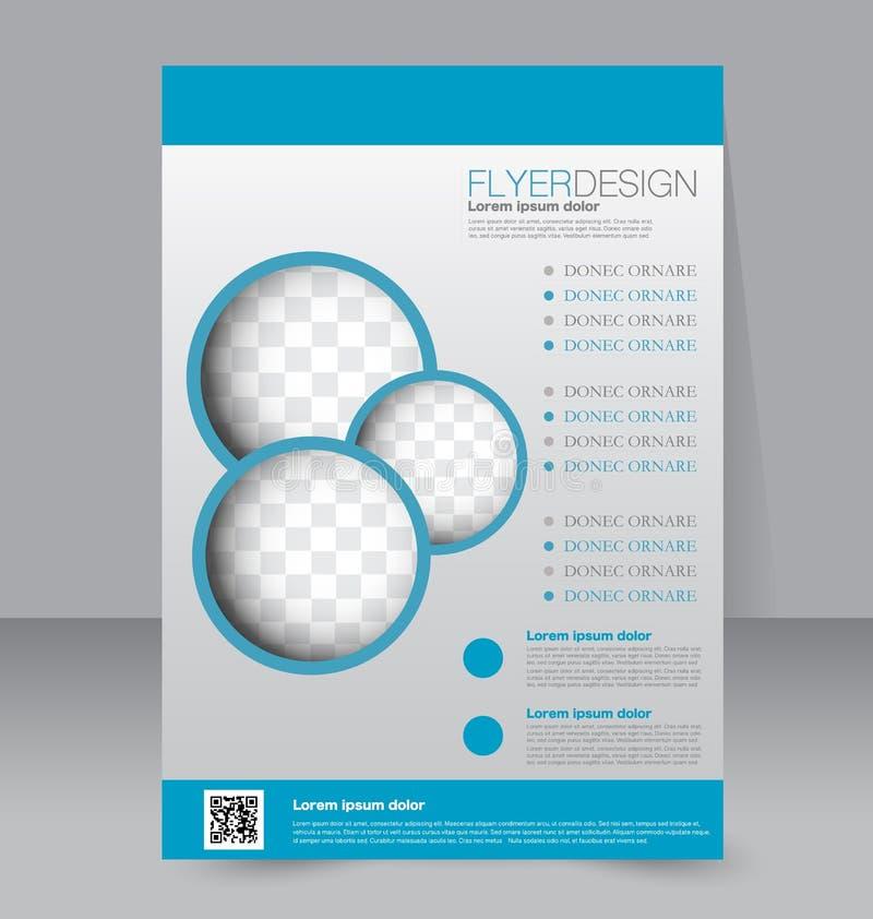 Fliegerschablone Blaue abstrakte Planschablone mit Quadraten Editable Plakat A4 lizenzfreie abbildung