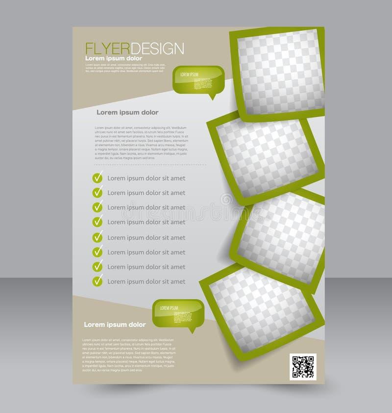 Fliegerschablone Blaue abstrakte Planschablone mit Quadraten Editable Plakat A4 für Design lizenzfreie abbildung