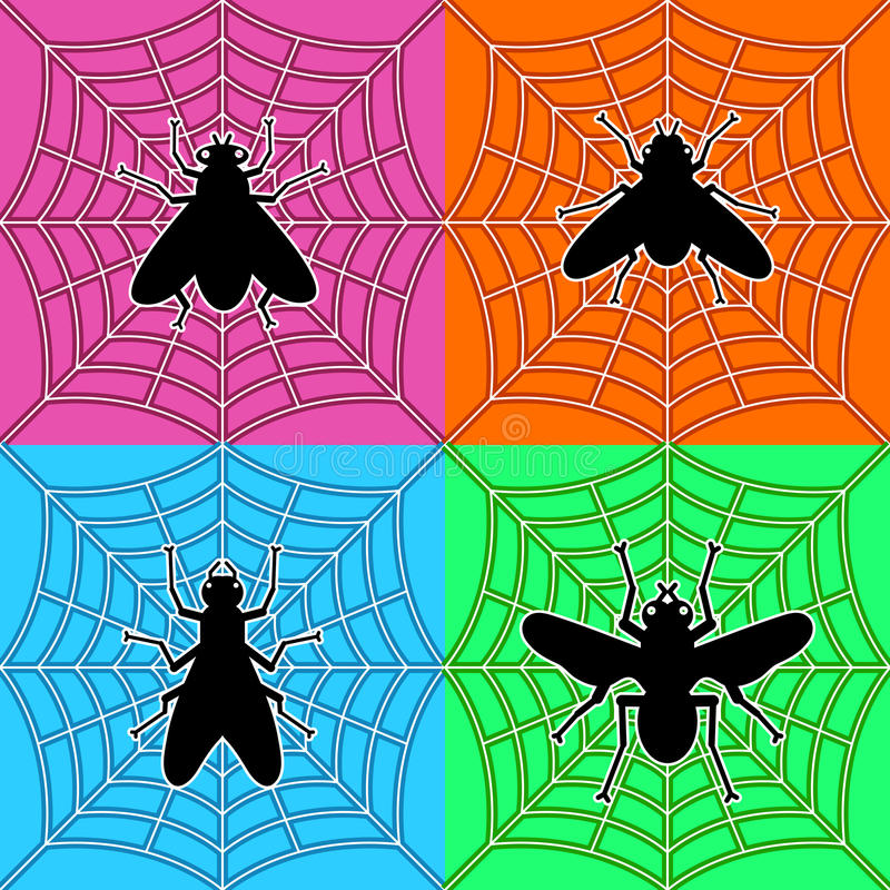 Flies In Spiders Web Stock Photography