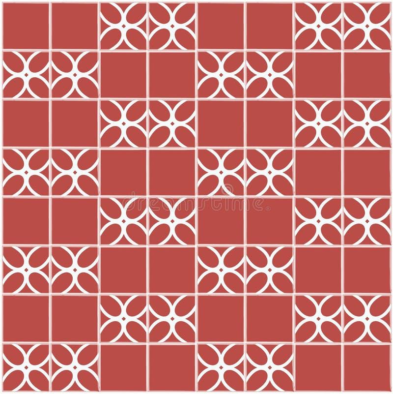 Fliesen-Dekoration Rote Fliesen mit Dekor Küche der Innenarchitektur fot, Badezimmer, Toilette nahtloses Muster des Hintergrundes lizenzfreie abbildung