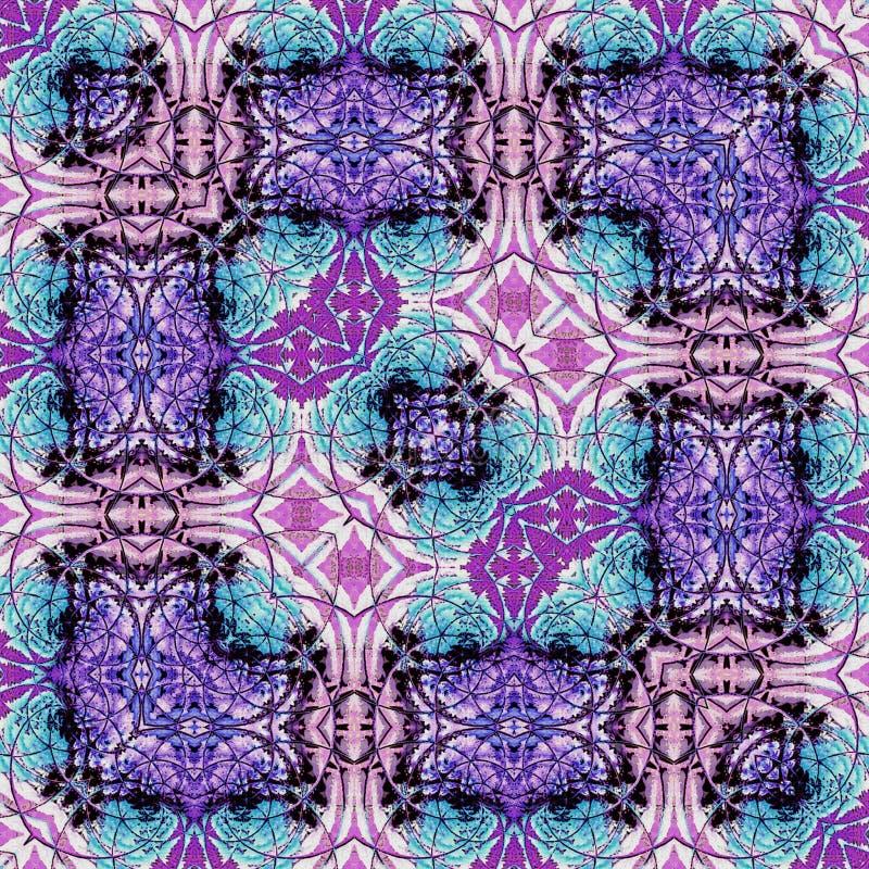 Fliesen und Grenze im Neonblau und in den lilas stock abbildung