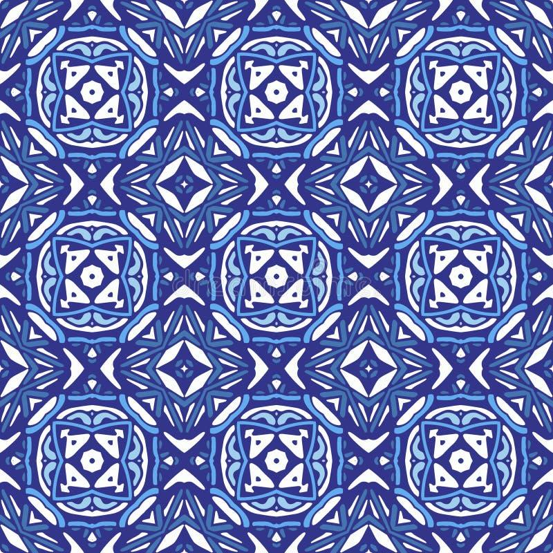 Fliesen-Vektorentwurf des Damastmosaiks geometrischer blauer nahtloser vektor abbildung
