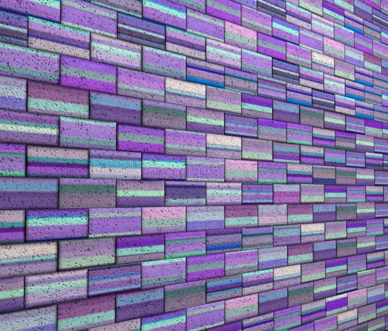 Fliesenbacksteinmauer des Mosaiks 3d im purpurroten blauen Streifen stock abbildung