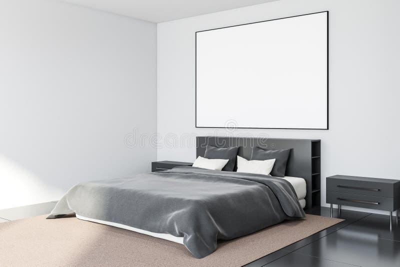 Fliesenbodenschlafzimmerecke mit Plakat lizenzfreie abbildung