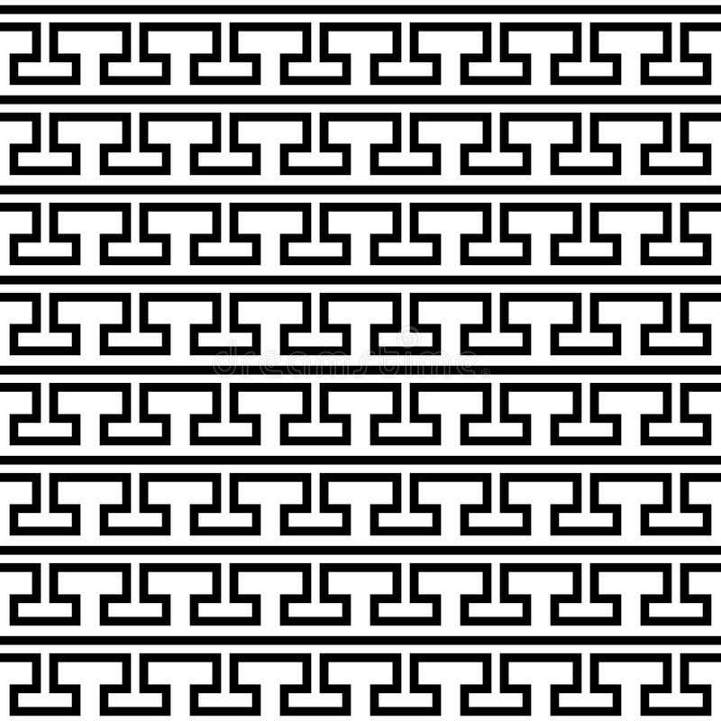 Fliesengriechisches Schwarzweiss-Vektormuster lizenzfreie abbildung
