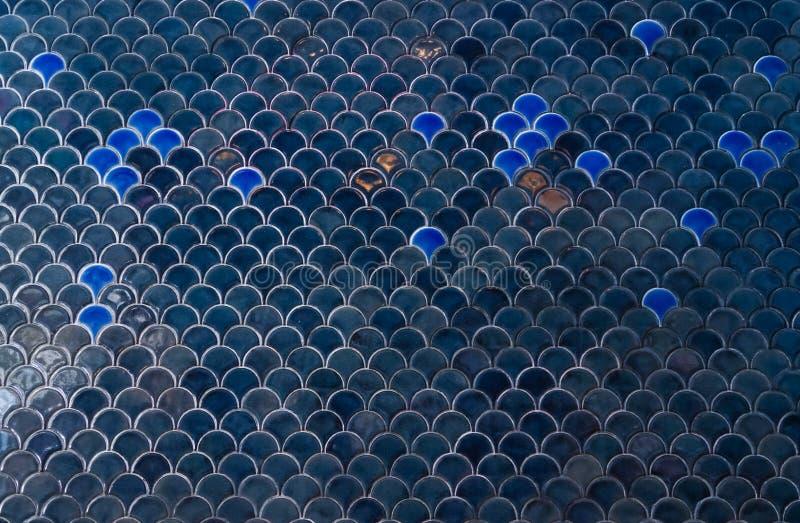 Fliesenwand Die dunkelblaue Marine deckt Wand mit unter dem Meerins mit Ziegeln lizenzfreie stockbilder