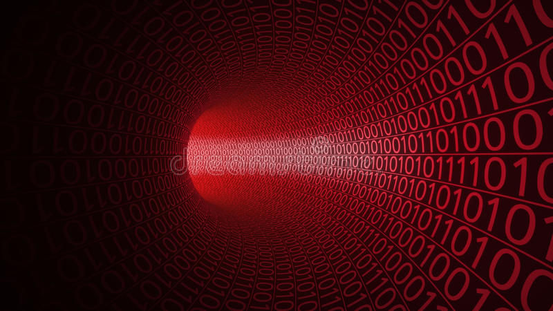 Flight through abstract red tunnel made with zeros and ones. Modern background. Danger, threat, binary data transfer vector illustration