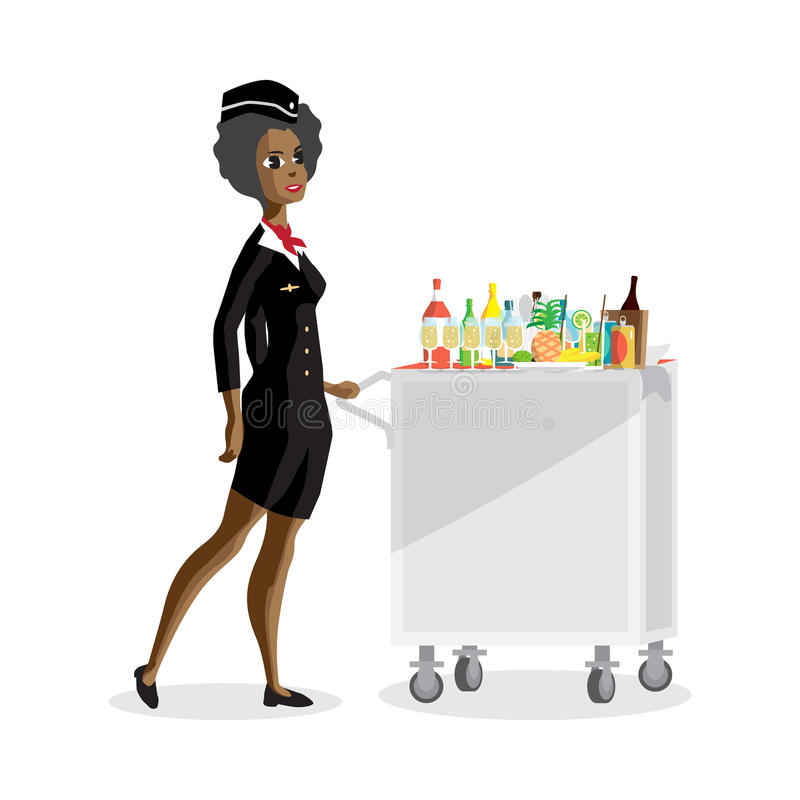 Flight afro attendant serving drinks to passengers on board of t royalty free illustration