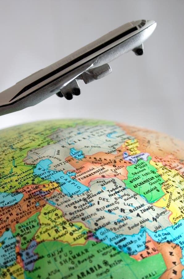 Flight around the world stock images