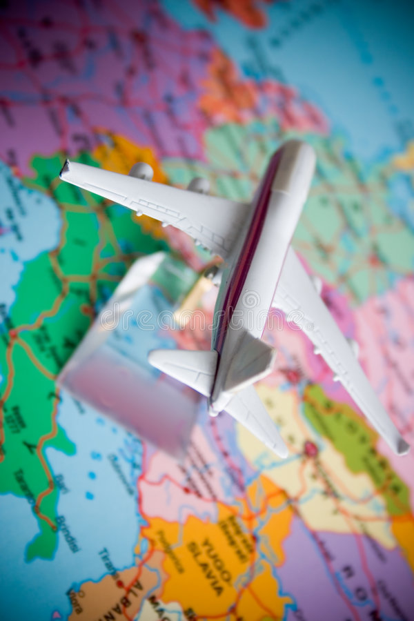 Flight around the world royalty free stock photography