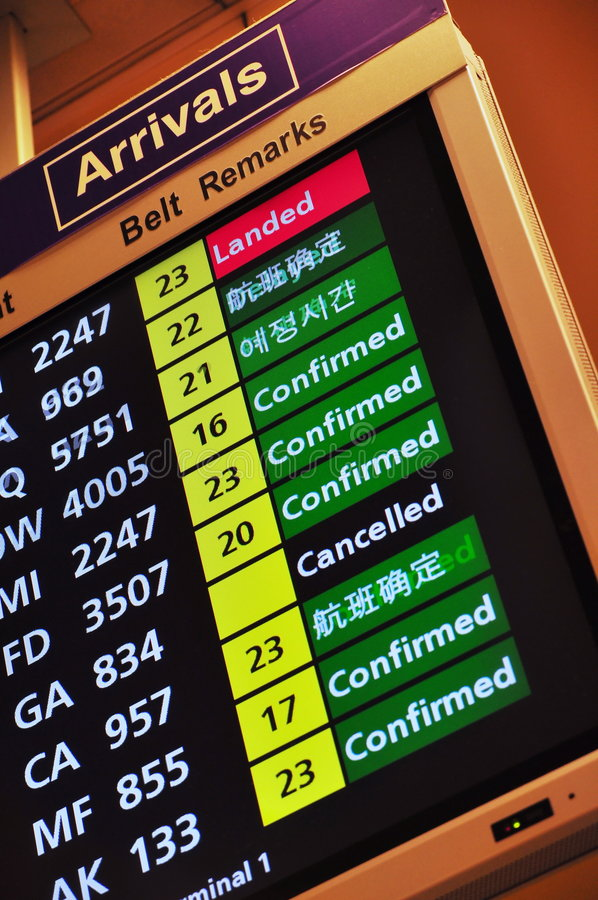 Download Flight Arrival Information Royalty Free Stock Photography - Image: 8236417