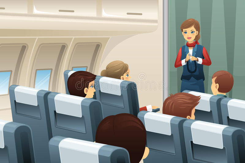 Flight attendant in an airplane royalty free illustration