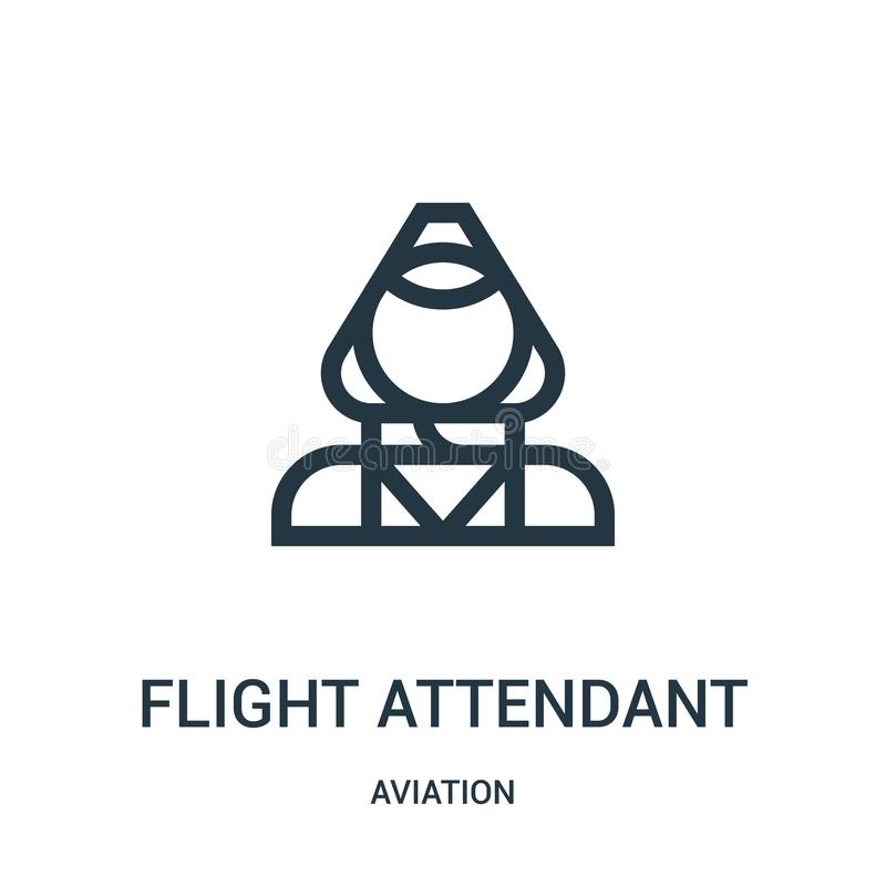 Flight attendant icon vector from aviation collection. Thin line flight attendant outline icon vector illustration. Linear symbol. For use on web and mobile royalty free illustration