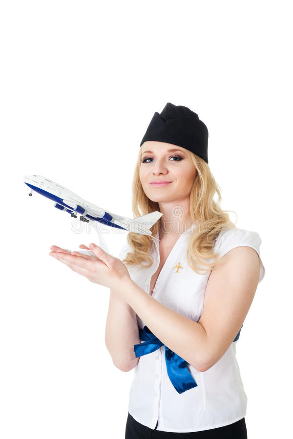 Download Flight Attendant With Model Of Aircraft Stock Photo - Image: 13777228