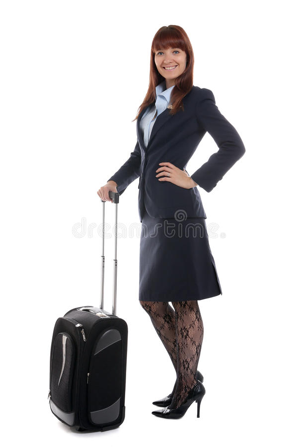 Download Flight Attendant Standing With The Luggage Stock Photography - Image: 26529092
