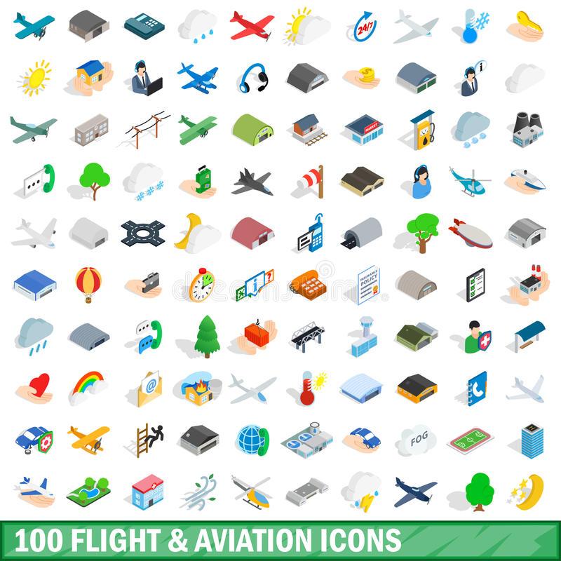 100 flight aviation icons set, isometric 3d style vector illustration