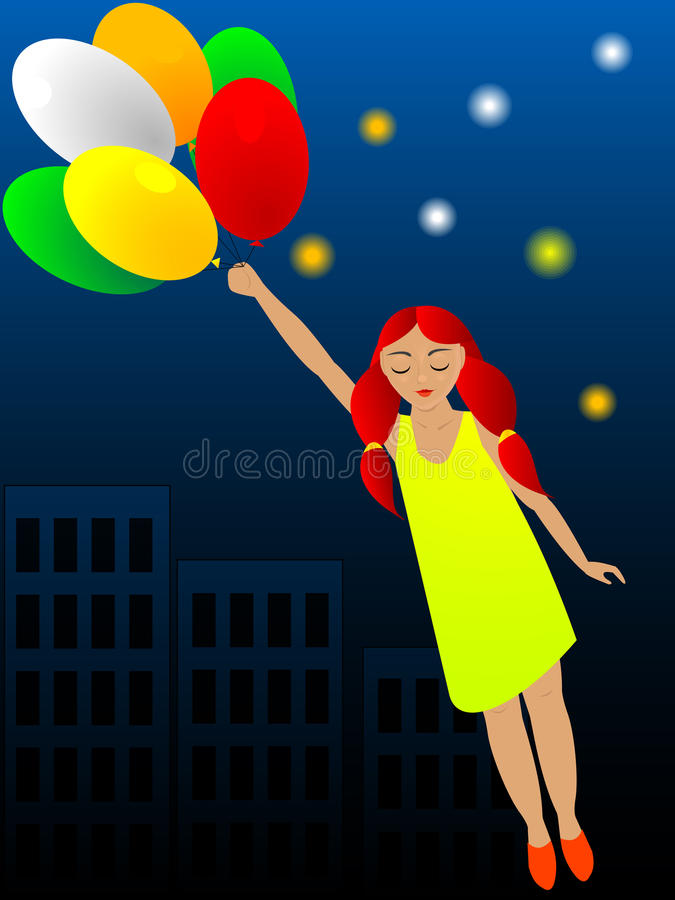 Flight on balloons vector illustration