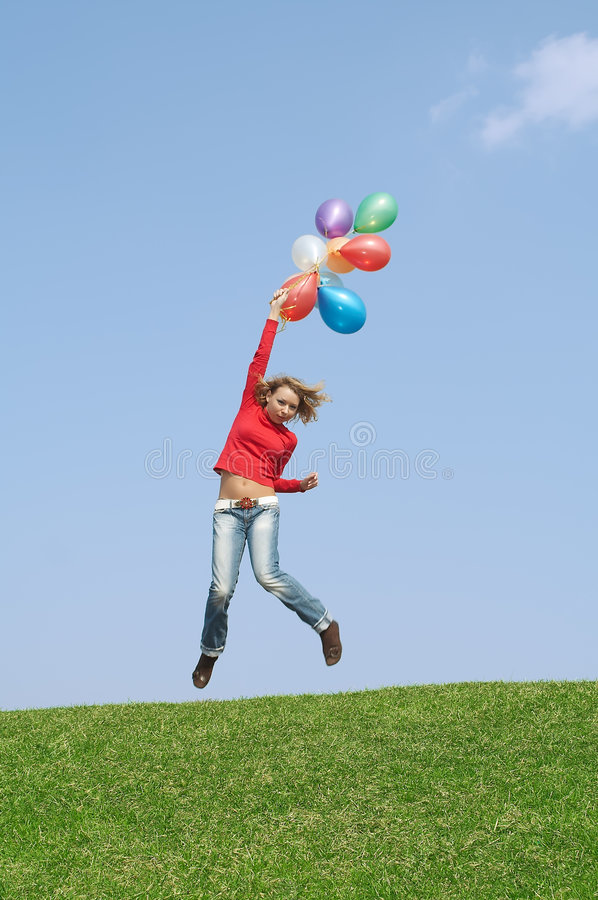 Flight by balloons stock photography