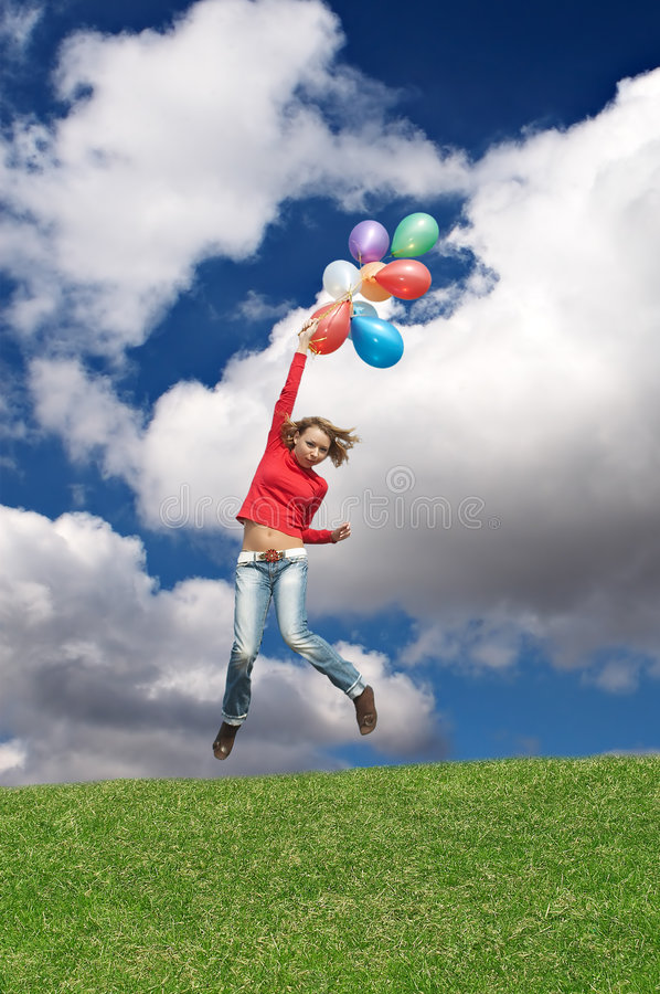 Download Flight by balloons stock photo. Image of field, blond - 2421806