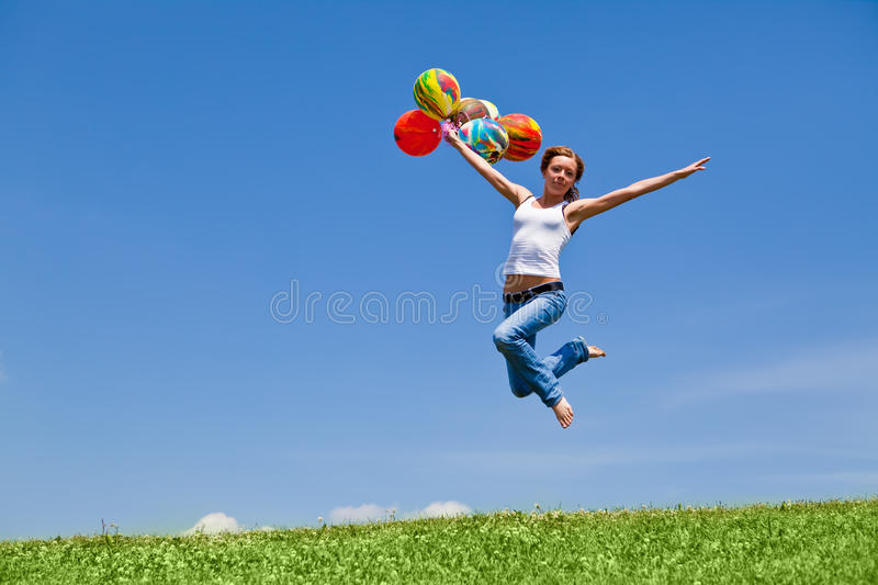 Flight by balloons royalty free stock photography