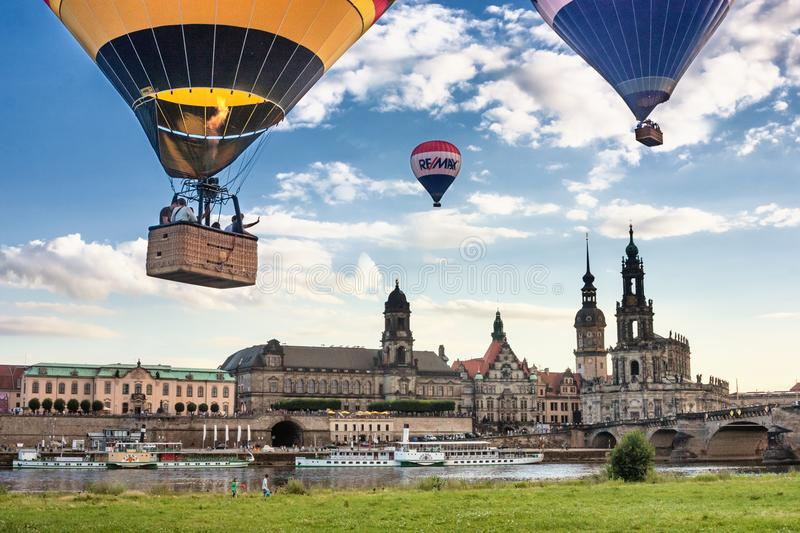 Flight of balloons on a summer day over the city of Dresden stock images