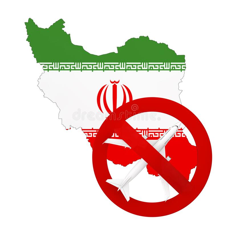 Flight Ban to and from Iran due to Coronavirus COVID-19. Iran Map with Flag and Airplane with Red Prohibit Sign. 3d Rendering. Flight Ban to and from Iran due to royalty free illustration