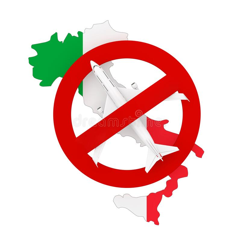 Flight Ban to and from Italy due to Coronavirus COVID-19. Italy Map with Flag and Airplane with Red Prohibit Sign. 3d Rendering. Flight Ban to and from Italy due stock illustration