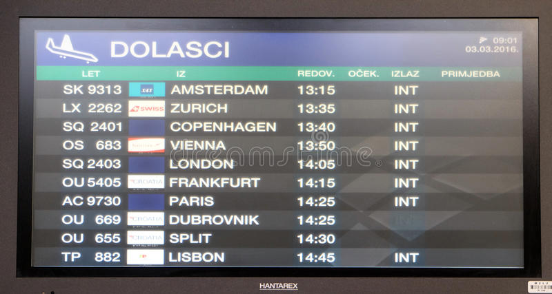Flight Board At The Airport In Zagreb Editorial Stock Image Image Of Table Departing 96608624