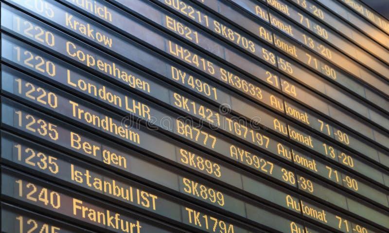 Flight board in Arlanda airport stock photo