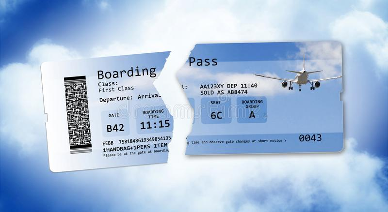 Flight cancelled concept image with ripped flight ticket - The i royalty free stock photography