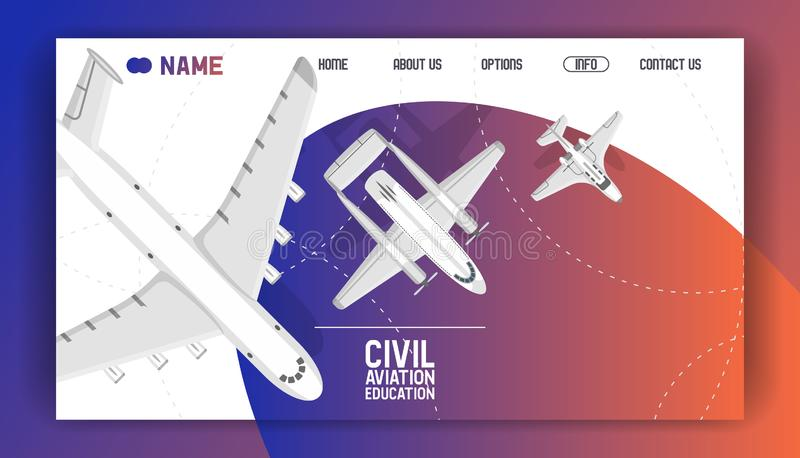 Flight civil aviation training academy landing page. Education aircraft commercial banner vector illustration. Plane. Flying airfield private transportation vector illustration