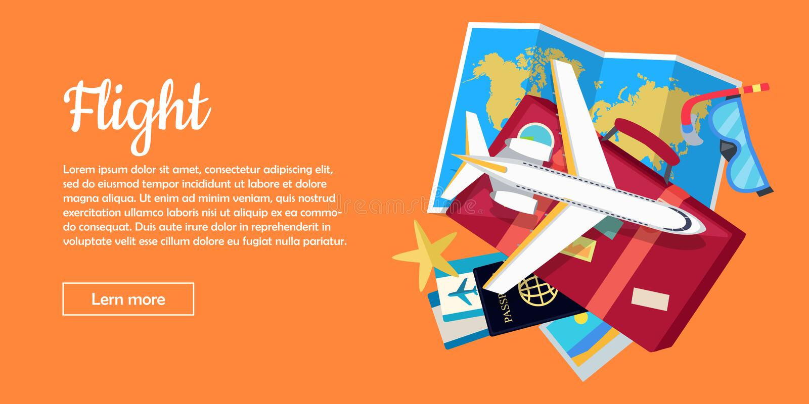 Flight Conceptual Flat Style Vector Web Banner vector illustration