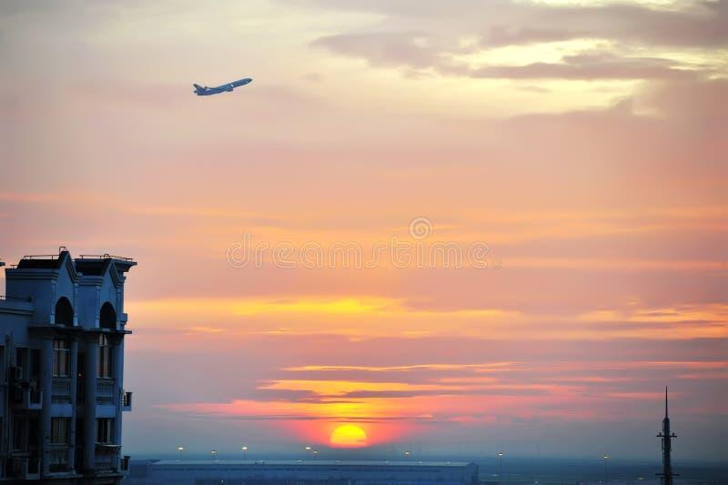 Flight at dawn stock photos