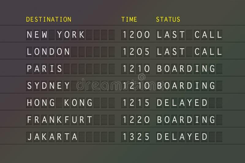 Flight departure board. Flight departure information board showing international destinations stock illustration