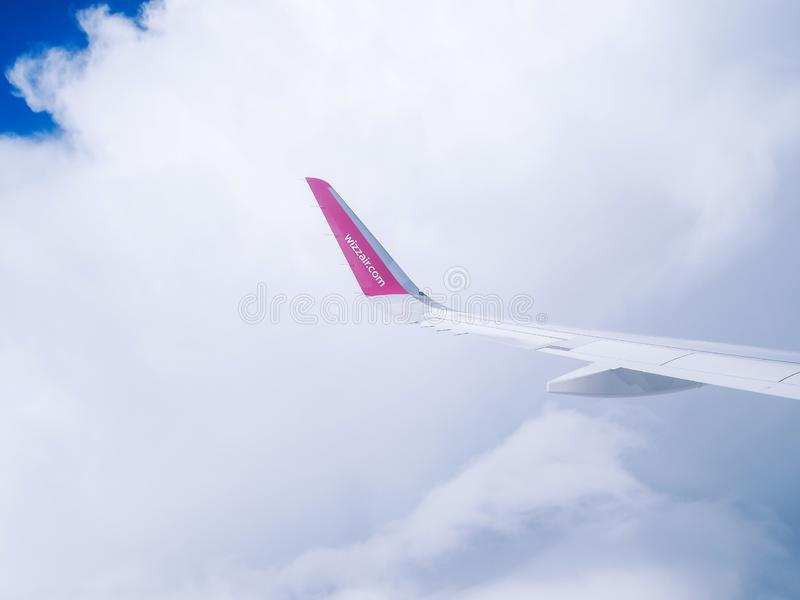 Flight Dortmund-Kyiv.July 2018 . View from airplane window: wing of `wizzair` royalty free stock photography