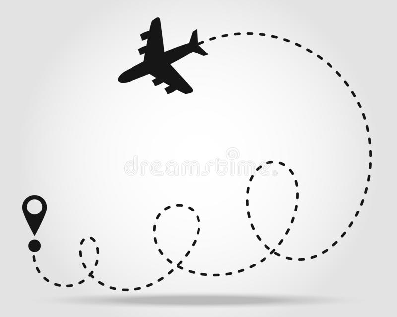 Flight of dreams. Airplane line path icon of air plane flight route with start point and dash line trace. Modern vector. Illustration. eps10 royalty free illustration