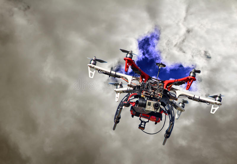 Flight of the drone royalty free stock image