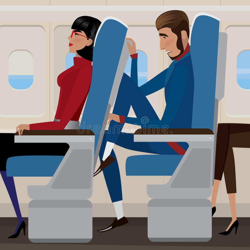 Flight in economy class. Woman sat back in a reclining seat and man behind the closely - discomfort and saving money concept royalty free illustration
