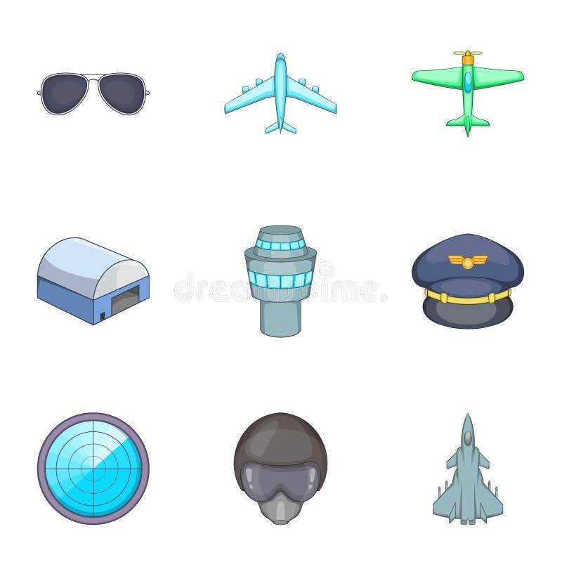 Flight elements icons set, cartoon style. Flight elements icons set. Cartoon illustration of 9 flight elements vector icons for web vector illustration