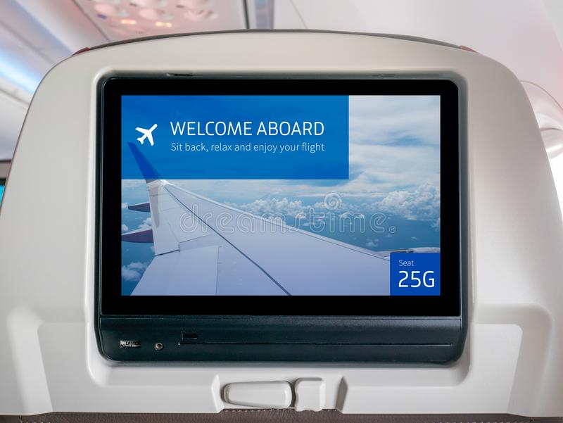 In-Flight Entertainment Screen, Inflight Screen, Seatback Screen in Airplane royalty free stock images