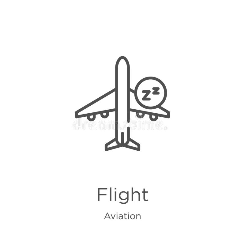 Flight icon vector from aviation collection. Thin line flight outline icon vector illustration. Outline, thin line flight icon for. Flight icon. Element of stock illustration